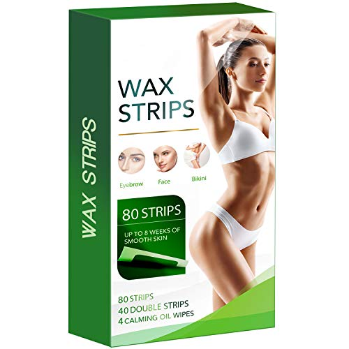80 Hair Remover Wax Kit for Face, Brows, and Bikini - Hypoallergenic All Skin Types - Facial Hair Removal For Women - At Home Waxing Kit with 80 Wax Strips (40 Double Sided Strips) + 8 Calming Oil Wipes