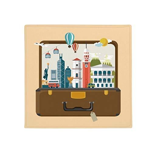 DIYthinker Hong Kong célèbre Place antidérapant Tapis de Pet de sol carré de salle de bain salon cuisine Porte 60/50 cm Cadeau, Polyester filé, multicolore, 60X60cm