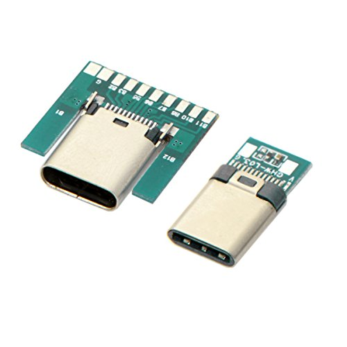 CY DIY 24pin USB 3.1 Type C Male & Female Plug & Socket Connector SMT Type with PC Board 1 Set …