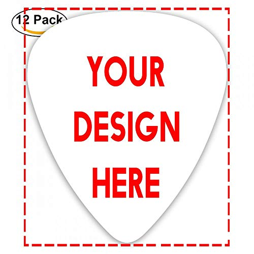 Custom Guitar Picks Plectrums 12-pack 0.46mm / 0.71mm / 0.96mm Add Your Own Text Name Personalized Message Image Stylish Colorful Celluloid For Bass