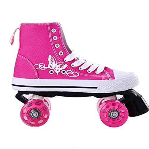 MIAOML Patines De Lona De Cuatro Ruedas para Hombres Y Mujeres,Adulto Zapatos De Patinaje,Patines para Niños Y Niñas,Pink (no Light)-44-45 (Adjustable by Adding Insole)