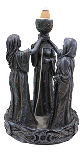 Ebros Gift Wicca Triple Goddess Young Maiden Expecting Mother and Old Crone Pagan Decorative Backflow Incense Cone Burner Figurine Sacred Moon Feminist Cycles of The Years Celtic Triune Symbol Statue