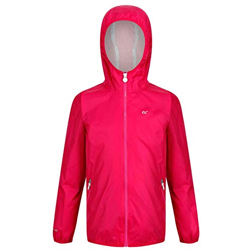 RegvvRegatta Kids Lever II Waterproof and Breathable Mesh Lined Hooded Pack Away Jacket Cabaret 11 12