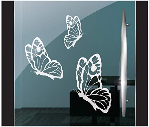 DD Dotzler Design 5920 | 3 Stück Set einzelne Schmetterlinge | Fensterbild Aufkleber Milchglasfolie | Zubehör Fensterfolie Klebefolie Fensteraufkleber