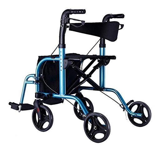 XLYAN Rollator con Sedile Passeggini A Quattro Ruote Pieghevoli Leggeri Carrello della Spesa Passeggino per Sedia A Rotelle E Carrello di Trasporto Regolabile in Altezza,Blue