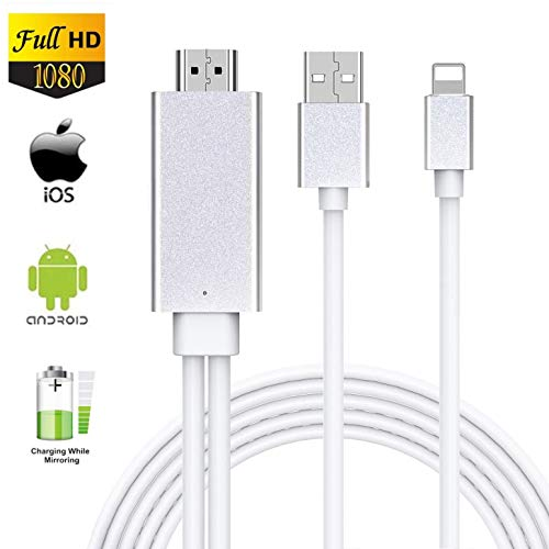 HDMI-Adapter für Handy, iPhone auf TV, HDMI-Kabel, 4K 1080P, digitaler AV-Adapter, HDMI-Anschluss, Audio-HDTV-Kabel-Adapter, kompatibel mit iPhone XR, X, 8, 7, 6, Pad Air, Mini, Pro, Pod Touch silber
