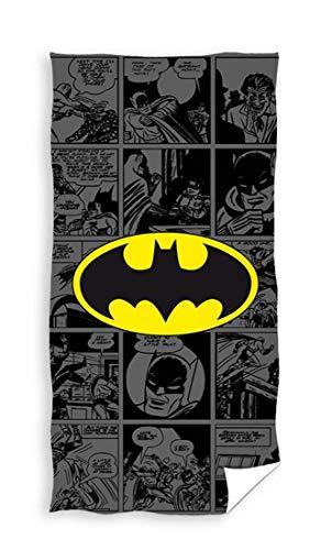 Carbotex Batman Handtuch groß 70x140 cm Baumwolle Strandtuch Badetuch Duschtuch Kinder Comic Fanartikel Fledermaus