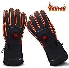 GLOBAL VASION Electric Heated Gloves with Rechargeable Batteries Gloves Waterproof Thermal Gloves Touchscreen for Skiing Walking Hiking Climbing Driving Cold Weather Gloves