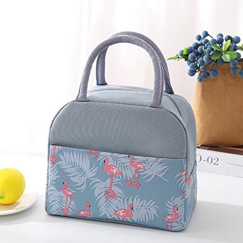 ZJTA Bento Beutel, beweglicher Hitze Erhaltung Frischer Lunch-Rucksack für Camping Grill Familie Outdoor-Aktivitäten,Flamingo