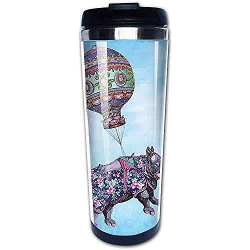 JULOE Nashörner fliegen Heißluftballon lustige Kaffeetassen Edelstahl Wasserflasche Tasse Travel Mug Kaffeebecher