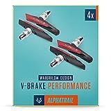 Alphatrail V-Brake Bremsbeläge 2 Paar 72mm I Optimiertes Bremsverhalten bei Nässe I Langlebiger Bremsbelag & 100% Passgenau für V-Brakes von Shimano, Tektro, Avid, SRAM, XLC UVM