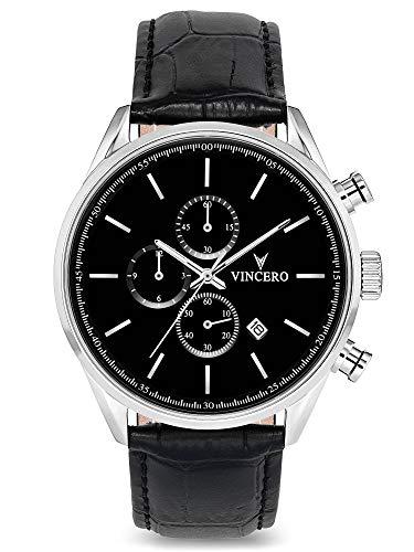 Vincero Herren Chrono S Chronograph Quarz Uhr Mit Lederband - Schwarz/Silber
