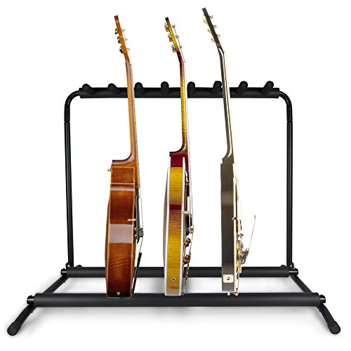 Pyle Multi Guitar Stand 7 Holder Foldable Universal Display Rack - Portable Black Guitar Holder With No slip Rubber Padding for Classical Acoustic, Electric, Bass Guitar and Guitar Bag / Case - PGST43