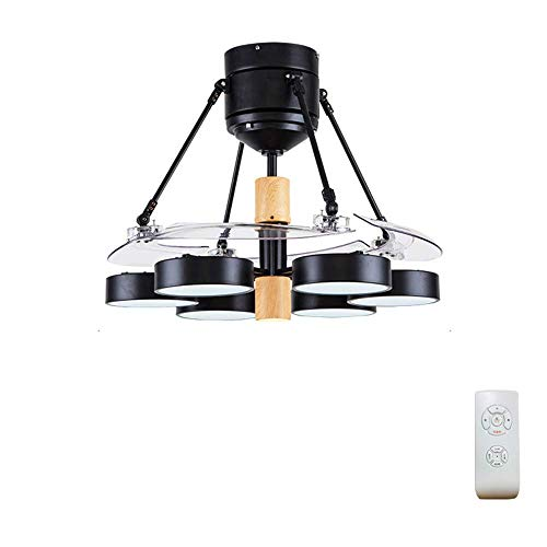 LZQBD Araña, Luz Negra Simple Luz de Ventilador de Techo, 48 Pulgadas Moderna Ventilador de Techo Luz Luz Led con Ventilador Control Remoto Telescópico Cuchilla Sala Sala de Estar Dormitorio Comedor
