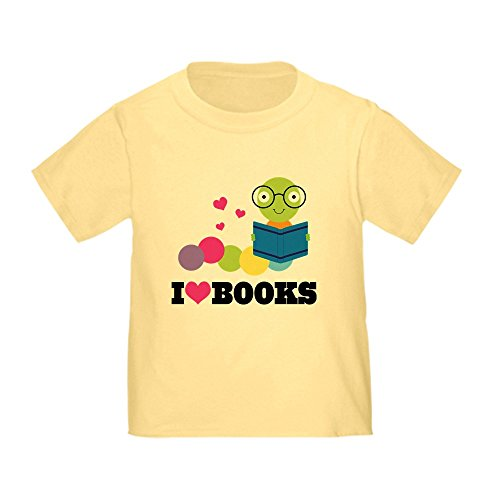 CafePress Bookworm I Heart Books Toddler T Shirt Cute Toddler T-Shirt, 100% Cotton Daffodil Yellow
