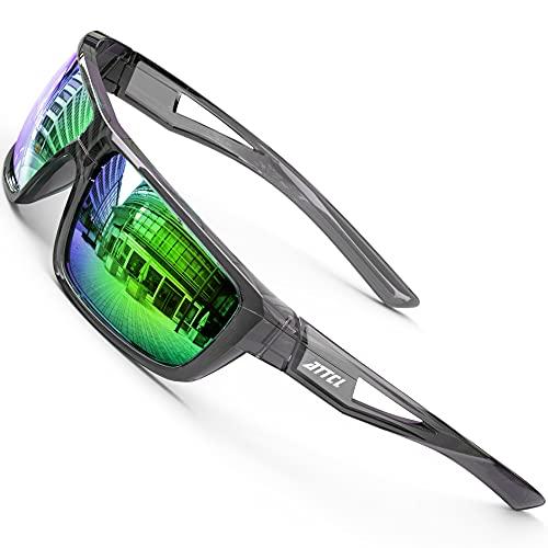 ATTCL Herren Sportbrille Polarisierte Sonnenbrille Fahrerbrille TR90 Rahme Ultra Leicht J2021 Clear+green