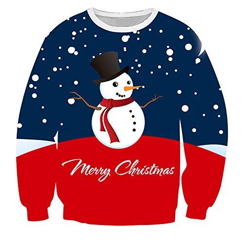 Sweats à Capuche Homme,Hoodie Noël Sweat-Shirts Pull Chaud Homme Sweatshirt Bonhomme de Neige Impression 3D Survêtements de Sport T-Shirt à Manches Longues Chemise Vest Blouse Hiver D-Navy S