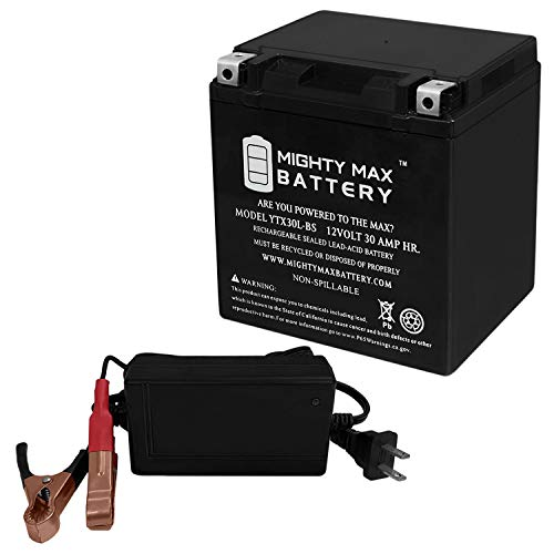 Mighty Max Battery YTX30L-BS Replacement for LTX30L-BS + 12V 4Amp Charger Brand Product
