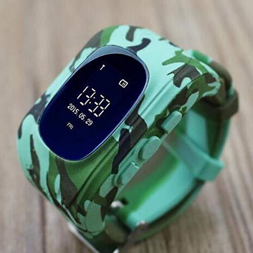 Anti pérdida Q50 OLED niño GPS rastreador SOS monitoreo posicionamiento teléfono Inteligente niños GPS bebé Reloj Compatible iOS y Android del q90 (Camuflaje GPS, Versión Inglesa)