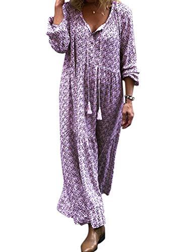 ORANDESIGNE Robe de Plage Femme Boheme Grande Taille Robe ete Femme Boho Longue Chic Fleurie à Bretelle Violet 50