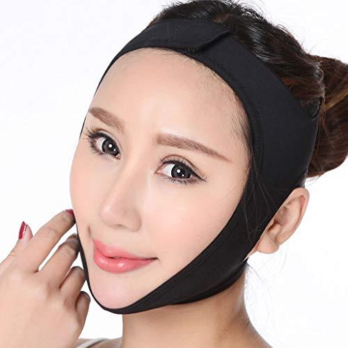 FCXBQ Ceinture faciale en V, Visage Minceur Visage Bandage Amincissant Le Masque, Face-Lift Bandage Fermeté Visage de Levage Bande Menton,Black,S