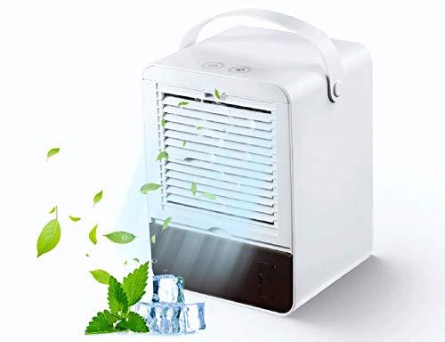 Mini Air Cooler Geräuschlos Klimagerät Mobil Kleiner Kühlerlüfter Luftbefeuchter mit 3 Geschwindigkeiten für das Home Office (Weiß)
