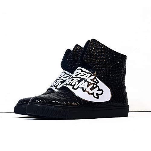 Sneek x Dr Axes XVIII - EU 45 - US 12 - UK 11-30 cm - Cuero Italiano Hecho A Mano Hombre Piel Color Negro Zapatos Casuales Sneakers - Cuero Charol - Encaje