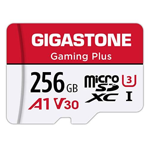 Gigastone Carte Mémoire 256 Go Gaming Plus Série, Vitesse de Lecture allant jusqu'à 100 Mo/s. Compatible avec Switch Dashcam GoPro Canon Nikon DJI Drone, A1 U3 V30 Carte Micro SDXC avec Adaptateur SD.