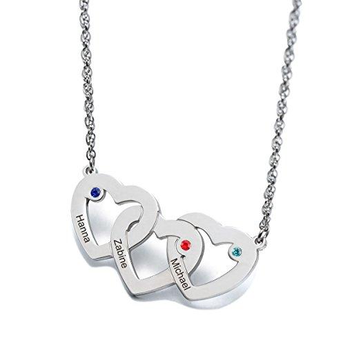 Personalisiert Geburtssteinkette Edelstahl Namenskette mit 3 Namen (Herz zu Herz)