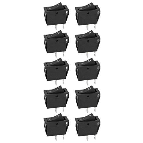 SALUTUYA Interruptor basculante de Encendido/Apagado de 2 Pines y 2 Posiciones de 10 Piezas, Interruptor basculante Negro de Barco Impermeable KCD3, para electrodomésticos
