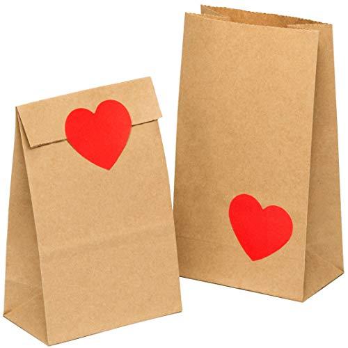 kgpack 100 Stk. Papiertüten klein mit Herz Aufklebern 9x16x5cm Bodenbeutel Obstbeutel Mitgebseltüten Butterbrottüten Süßigkeiten Geschenkverpackung Gastgeschenke Tüten aus Braun Kraft Geschenkpapier