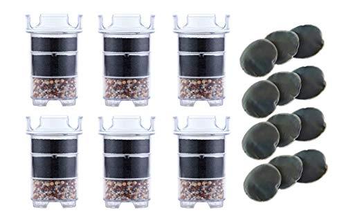 Lotus Vita Wasserfilter Ersatz Jahres Paket - 6 x Filter 12 x Kalkpad für Esprit, Lotus, Family, ONE, Natura Plus