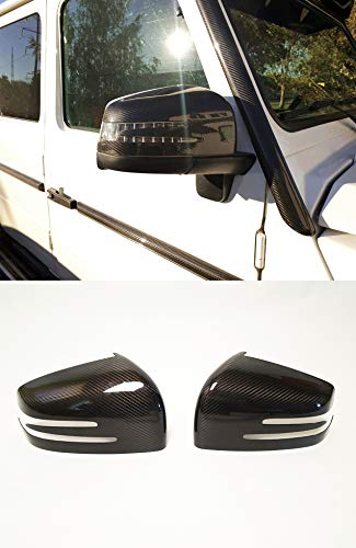 W463 G Wagon Brabus style - Carbon Fiber Side Mirror Covers - Rear View Mirror Cap Trim - for W463 G Class Mercedes Benz G63 AMG G65 G500 G55 Vehicles - Set of 2 pcs