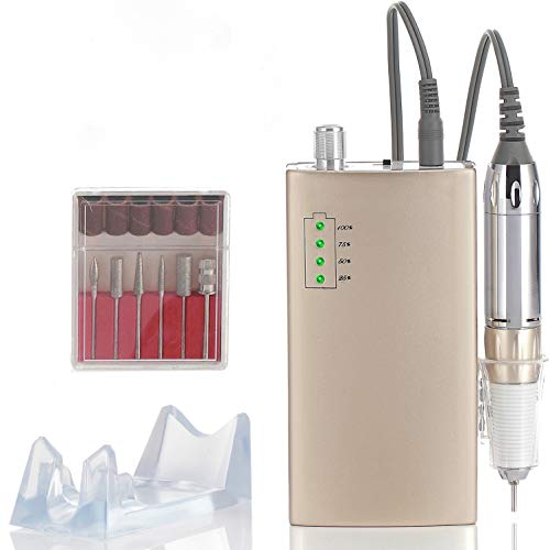 Miss Sweet Portable Nail Drill Machine Rechargeable Electric Nail File for Acrylic RPM30000 (Pure Gold)