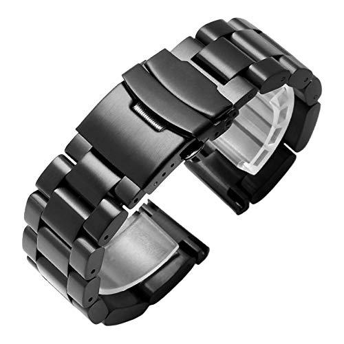 Kai Tian 26mm Uhrenarmband Ersatzarmband Armbanduhr Edelstahl Link Schwarz Uhrenarmbänder für Damen Herren Faltschließe Metall Armband