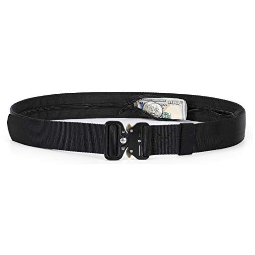 Men/Women Military Carry Belt With Zipper Money Pocket, Fast Release Buckle Belt for Dresses (Fit for Waist 22-38in, 01 Black)