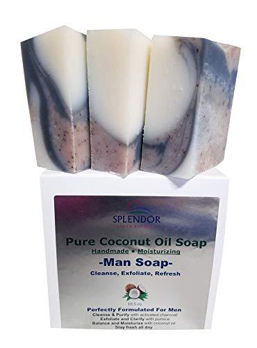 Splendor Soap for Men - Coconut Oil Bath & Body Bar Soap. Cleanse, Exfoliate, Refresh. Handmade, Vegan, Moisturizing, Activated Charcoal, Pumice and Alkanet Root