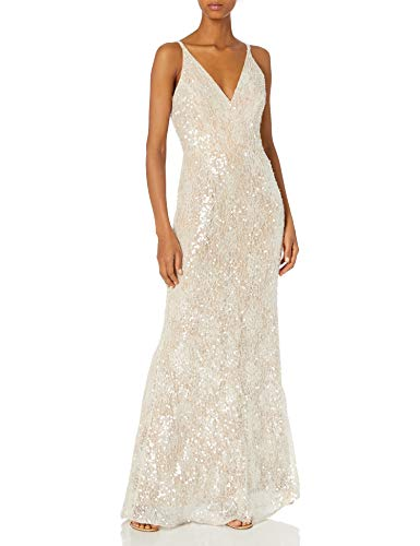 Dress the Population Women's Sharon Sleeveless Plunging Long Gown