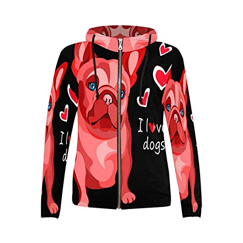 InterestPrint Women's French Bulldog Outwear Hooded Sweatshirts XXL