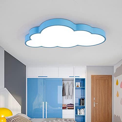 Luz De techo LED Regulable De 48W Luz Creativa Para Sala De Estar Con Forma De Nube Brillo Y Color De Luz Ajustables Luz Romántica Para Dormitorio Con Control Remoto [azul-48W]