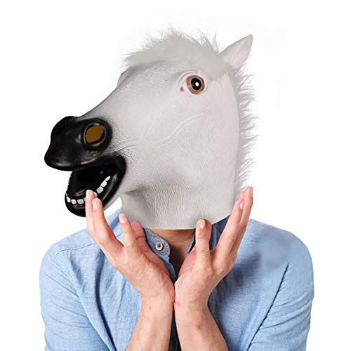 Waylike Horse Head Latex Rubber Toy Animal Head Mask Broncos Fan Full Head Mask for Costume Party and Festivals White
