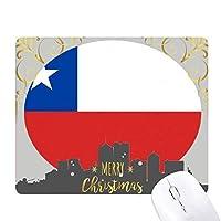チリの国旗の南のアメリカ 国シンボルマークパターン クリスマスイブのゴムマウスパッド