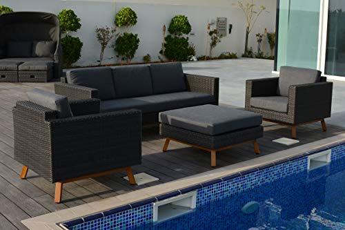 OUTFLEXX Muebles de salón, Gris, polirratán/olefina, para 6 Personas, Incluye Cojines