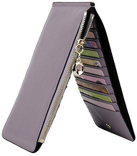 Yaluxe Portafoglio Vera Pelle Blocco RFID Multi Carde da donna con 20 slot per schede e Tasca cellulari chiusura a cerniera