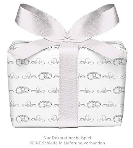5er Set: 5 Bögen Geschenkpapier zur Hochzeit mit Ringe Ornamente GRAU WEIß • Verpackung für Hochzeitsgeschenk Glückwunsch • Format: 50 x 70 cm