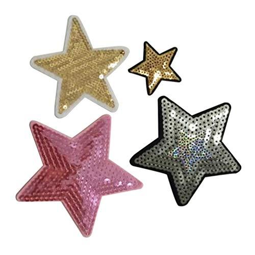 Artibetter 30 Piezas Parches Bordados de Estrella Parches Lentejuelas Accesorios de Bricolaje Chaquetas Jeans Camisas Mochilas Color Mixto