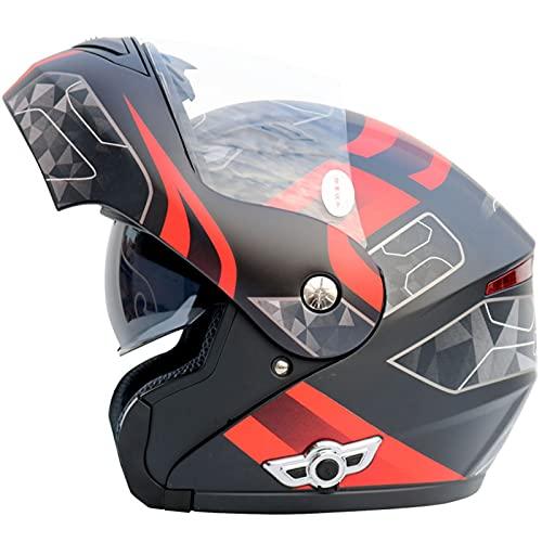 Bluetooth Casco Moto Modular Certificado ECE Cascos de Moto Integral Hombre Mujer con Doble Visera para Motocicleta Scooter, Casco Moto con Bluetooth Integrado ( Color : A , Size : (2XL/63-64CM) )