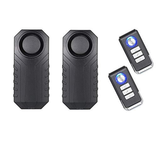 Lancoon Fahrradalarm, Diebstahlsicherung für Motorrad-Fahrzeuge mit Fernbedienung, 113 db Super Loud (2er-Pack)