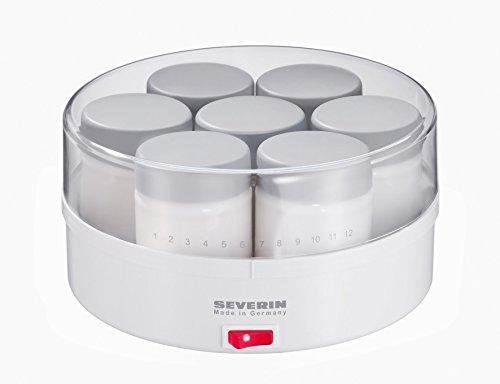 SEVERIN Yaourtière, 7 Pots de 150 ml Inclus, Graduation Mémo, JG3516, Blanc/Gris
