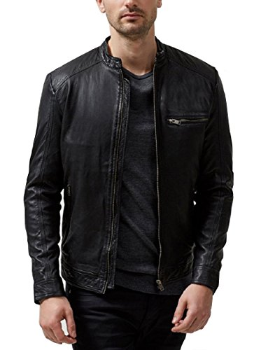 Absolute Leather Men's Sparta Black Classic Genuine Lambskin Leather Jacket L Black